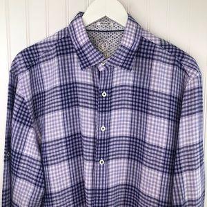 Bugatchi Men's Long Sleeve Purple Linen Shirt XL